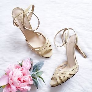 Butter Patent Butter Yellow Patent Strappy Heels